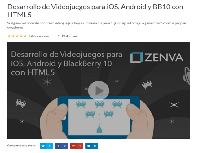 curso online creacion videojuegos android ios