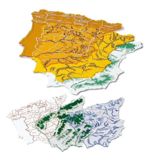 Faibo - Bolsa con 3 plantillas, mapas España 15 x 12 cm