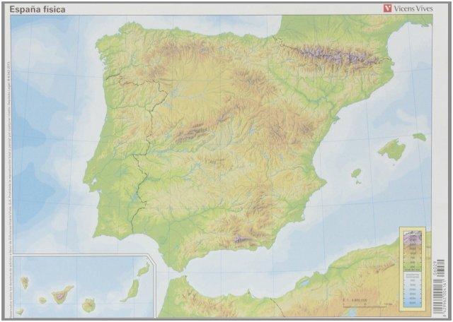 España fisica (mapas mudos a color) 50 unidades, 32x23
