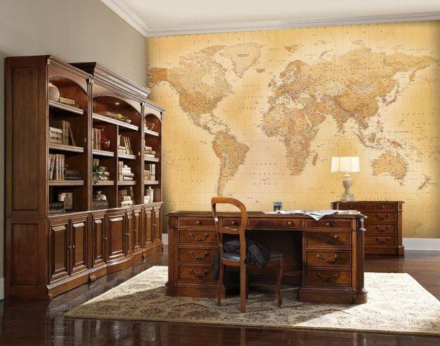 1Wall - Mural de papel pintado para paredes, mapamundi clásico