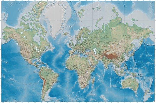 Fotomural mapamundi - Mural mapa con relieve - decoración mural XXL mapamundi en proyección de Miller - GREAT ART