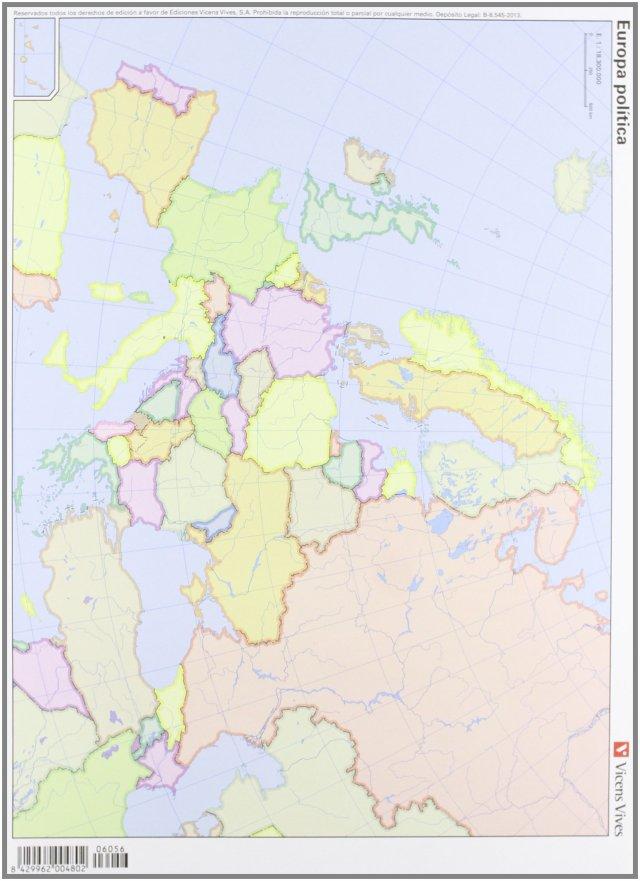 Europa politica (mapas mudos a color) 50 unidades, 32x23