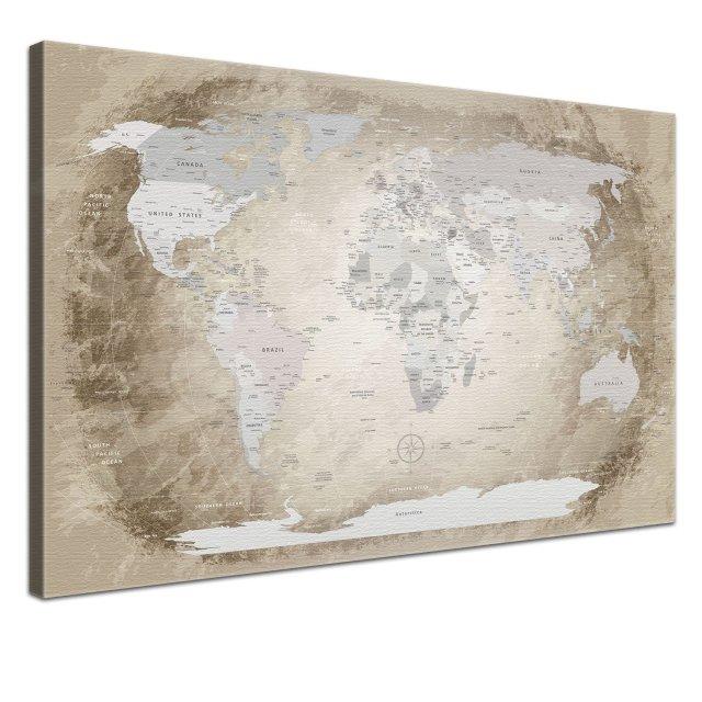 LanaKK® - mapamundi beige con corcho - versión Inglés, reproducción artística sobre lienzo premium en bastidor, tablón de notas para los trojoamundos, tamaño con bastidor tensado 120 x 80 cm