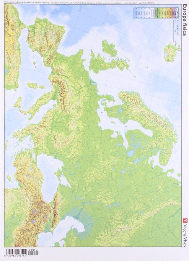 Europa (fisico) (mapas mudos a todo color) (pack 50 uds.)