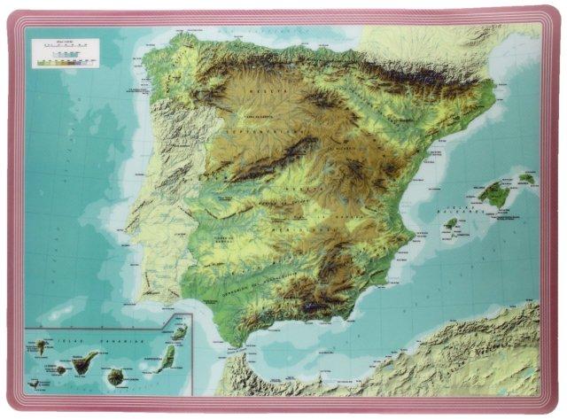 "MANTEL INDIVIDUAL "" mapa ESPAÑA FÍSICO"""